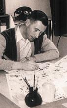 Hergé desenhando Tintin