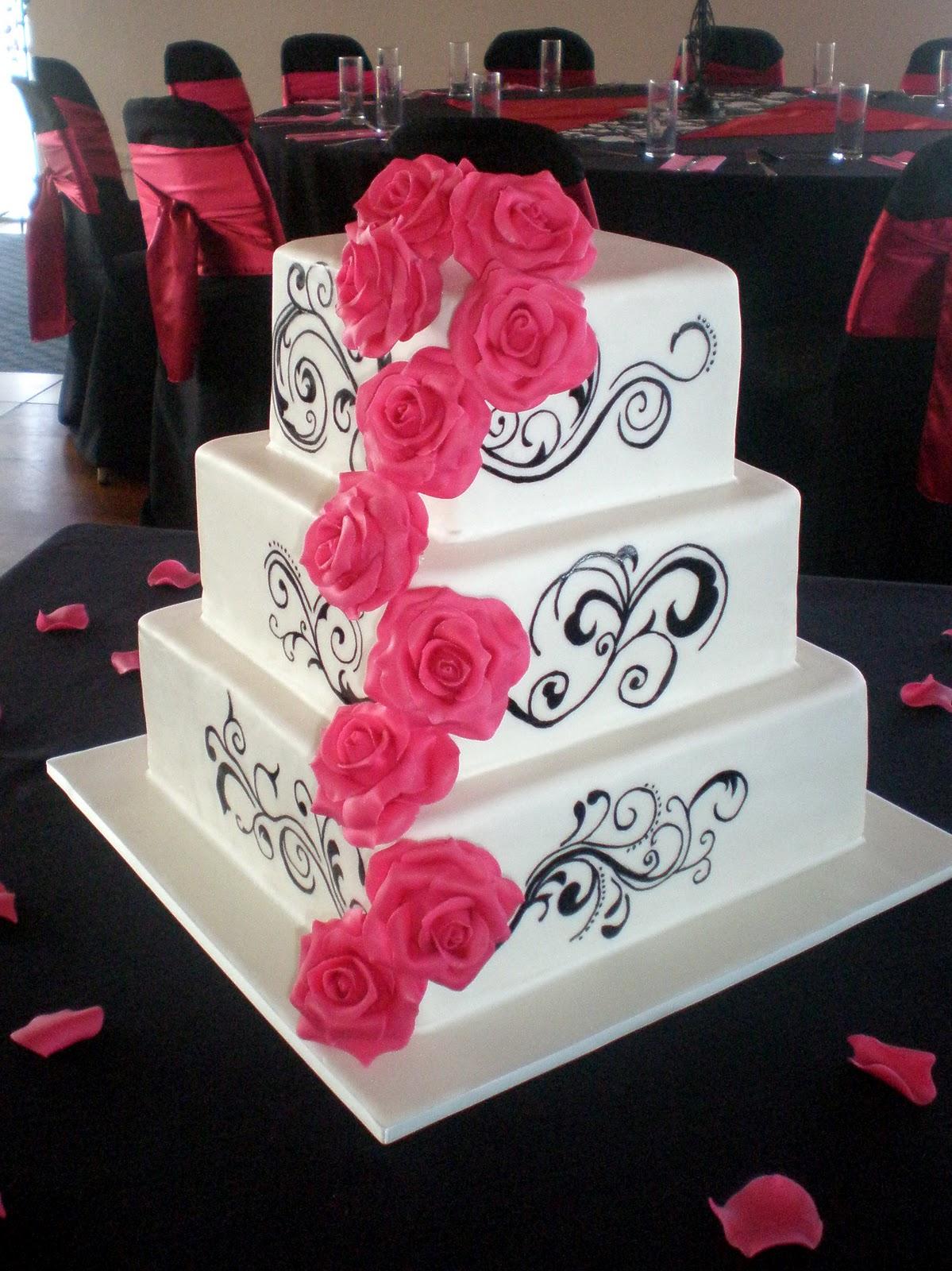 Sugar Siren Cakes Mackay Hot Pink Roses & Vines Wedding Cake