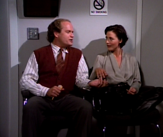 Frasier and Catherine discuss things over M&M's