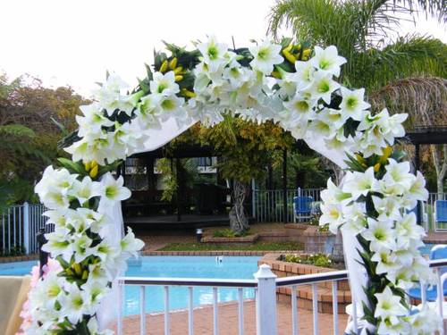 inside wedding arch