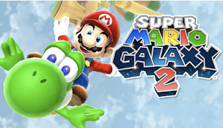 Mario flying on Yoshi Super Mario Galaxy 2