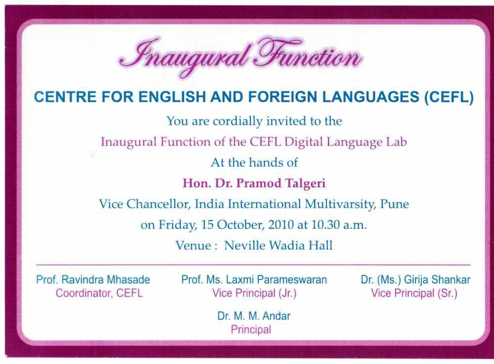 inauguration function invitation format