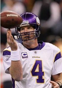 Brett Favre last season on the field at an away Vikings Game spinning the ball