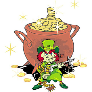 Leprechaun guards gold courtesy of FunDraw.com