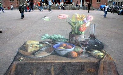 Fruit Table Painting  - 3D Chalk Drawings