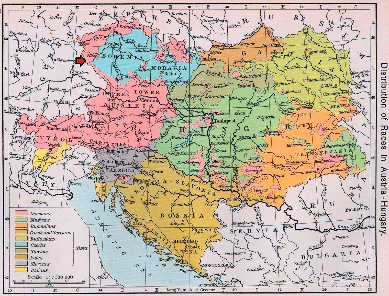 map of austria 1911