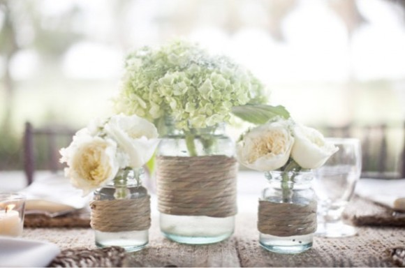 Love this ideaold mason jar twine flowers magic