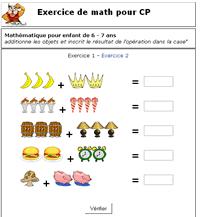Exercices en ligne: Exercice de math pour CP