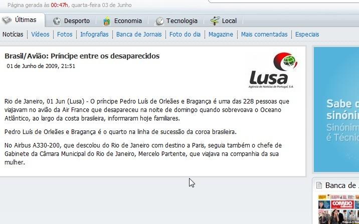 Príncipe do Brasil ia no avião da «Air France »