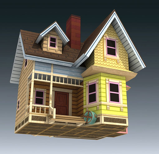 Creativeme disney 39 s up papercraft carl 39 s flying house for Model house movie