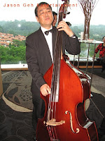Double bass or acoustic bass player performing live