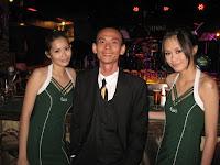 Jason Geh with the Carlsberg girls