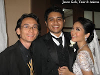 Band manager Jason Geh with newly weds, Yasir and Aainaa