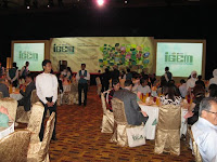 A view of the stage and guests at their tables at KLCC's Hall 1 and 2