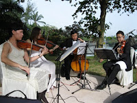 String quartet performing live at the wedding ceremony