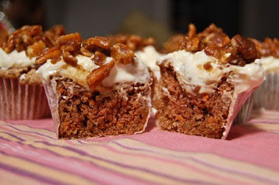 Foodie Fights Battle #14: Pecans & Cumin; Cumin-Carrot Cake Cupcakes w/ Cumin Maple Cream Cheese Frosting & Candied Pecans