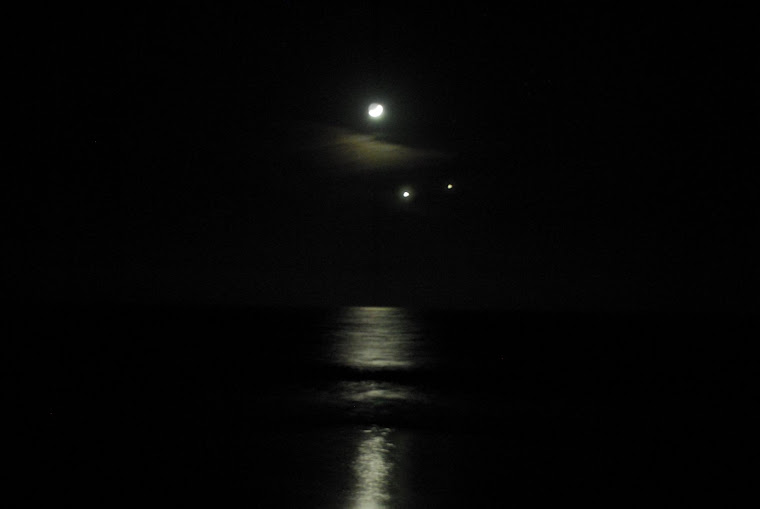 Moon, Venus and Mars Triangle Over Ocean
