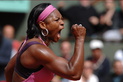 Serena Williams, of the United States, reacts after winning a point to Milagros Sequera, of Venezuela, during their second round match of the French Open tennis tournament, at the Roland Garros stadium, in Paris, Thursday, May 31, 2007. Williams won 6-0, 7-6. (AP Photo)