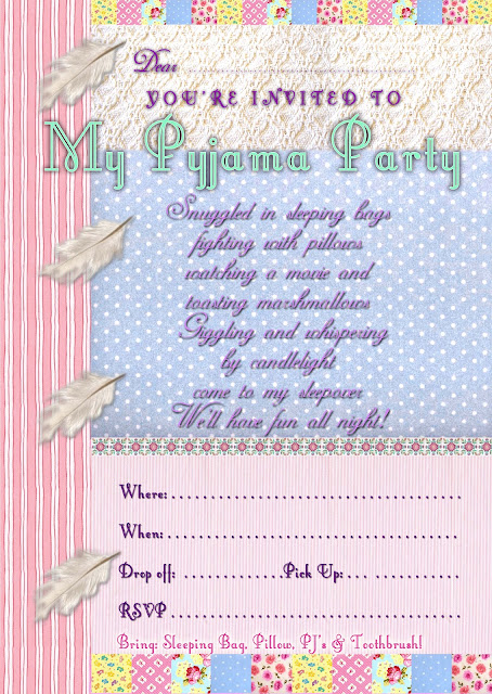 Sleepover/Pajama Party Free printable Invitation