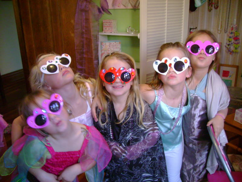 Fancy Nancy Party - posing with fancy bling sunglasses