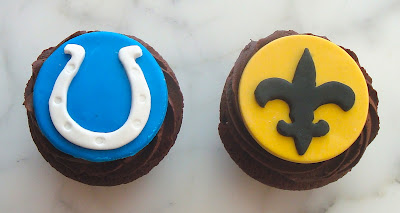 It's a sweet match-up of Colts vs. Saints at Hello Cupcake.