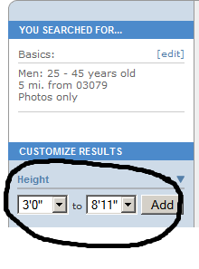 match.com height requirement
