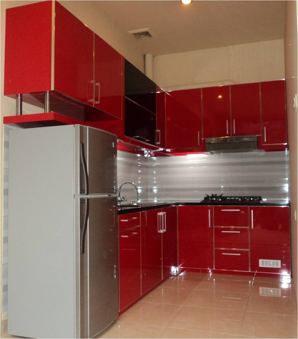 Kitchen set hpl red glossy