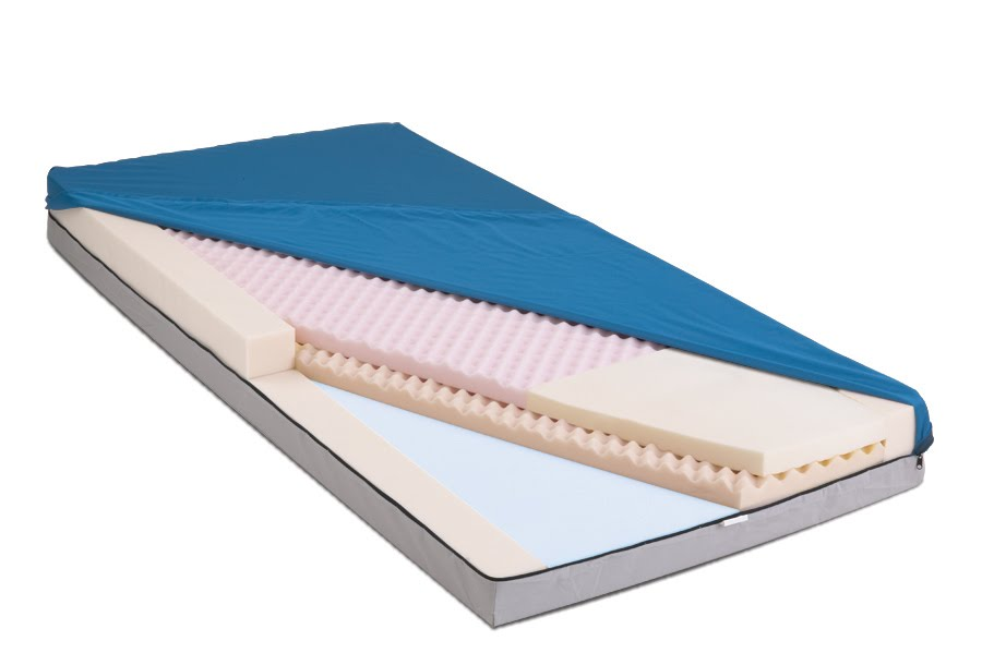 the top layer consists of a premium convoluted foam that provides air channels that help keep heat down to prevent the patient from sweating