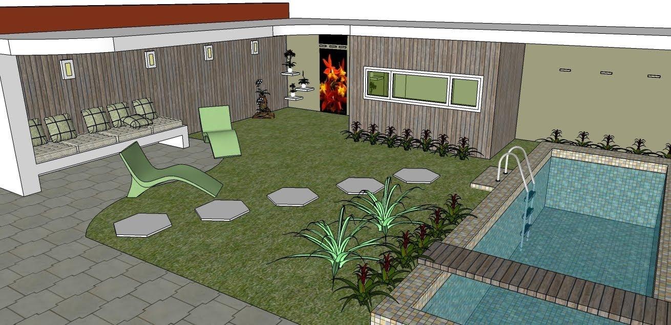 deck em jardim pequeno:pequeno deck que corta a piscina, serve de apoio,
