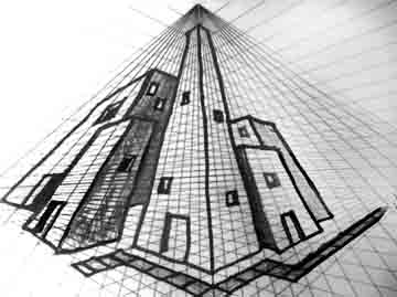 perspective drawings of buildings. Perfect Buildings Here Is A Sample Of Some Simple Three Point Perspective Buildings Drawn  Directly On Printout This Grid With Perspective Drawings Of Buildings