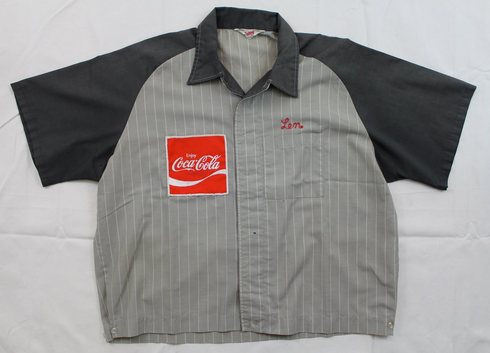 Enjoy COCA-COLA Cloth Logo Embroidered Shirt Patch 1970/'s Style Uniforms USED