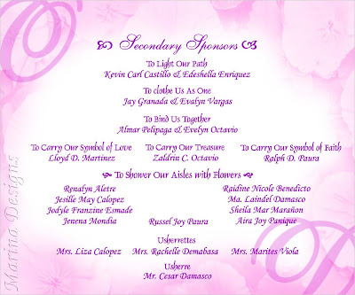 Sample of Wedding Entourage http://marinadesigns.blogspot.com/2009/04/sample-of-wedding-invitation-purple.html