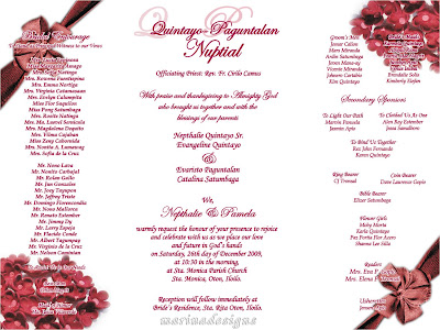 Wedding entourage sampleedding entourage sample can u for Wedding invitations samples philippines