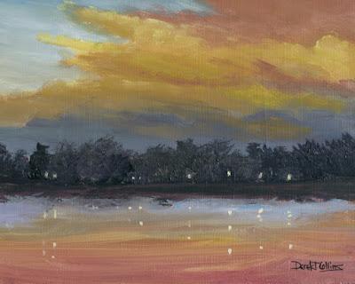 original,impressionist,lake,reflection,sunset,painting