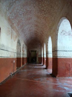 Tepoztlán, Morelos Convent's Cloister, there are frescoes all over the ceilings and edgings on all the walls, 17th century