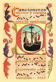 Sign made for the Cancioneros de México y España recital by Coro de Santiago of Tepoztlán, Morelos