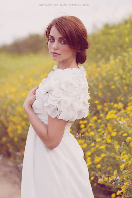 Yellow field white dress Stephanie Williams