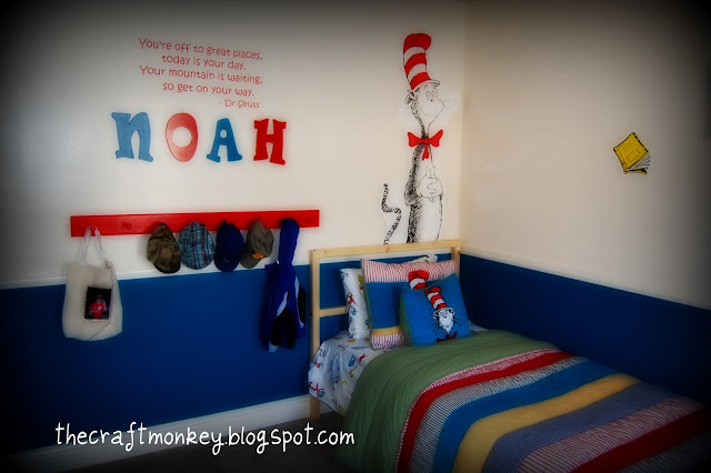 Cat in the Hat decorated boy s room. Craft  DIY Canvas Paint Kids ProjectMom it Forward