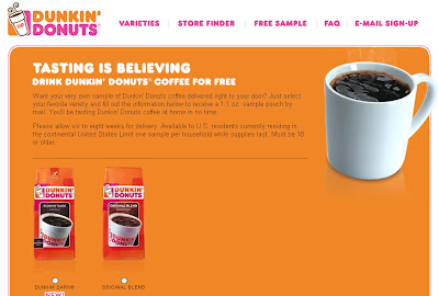 You Can Get A Free Coffee Sample From Dunkin Donuts Here No Additional