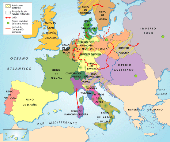 Europa del mapa de 1815 al de 1914: balance de un siglo