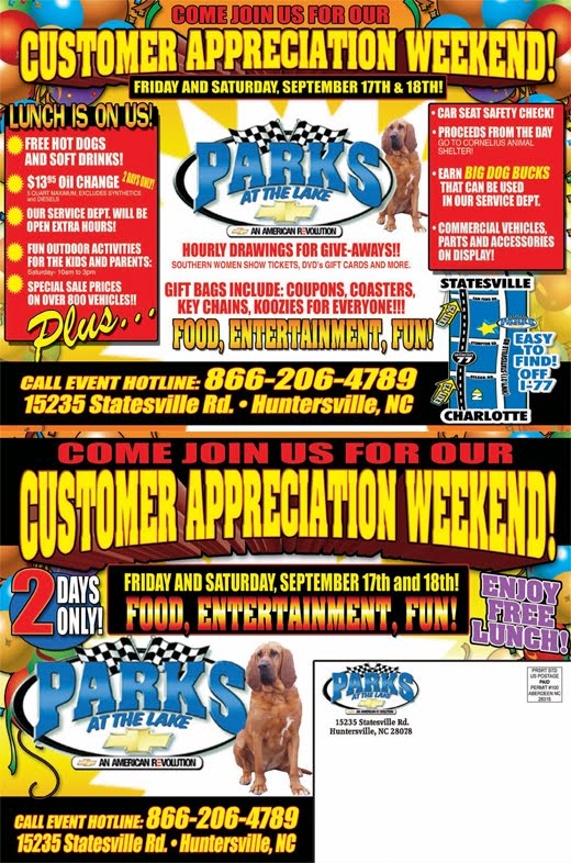 parks chevrolet huntersville customer appreciation days parks. Cars Review. Best American Auto & Cars Review
