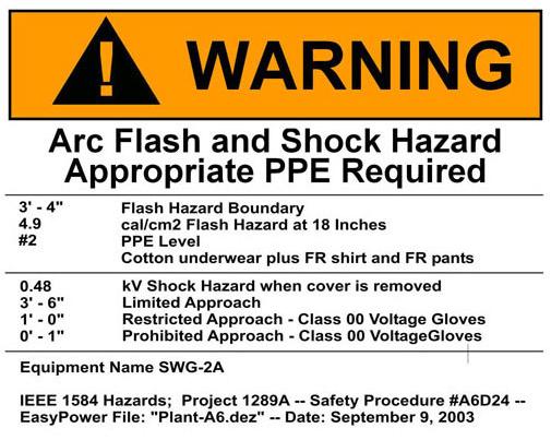 Theatre safety blog june 2010 for Danger arc flash labels