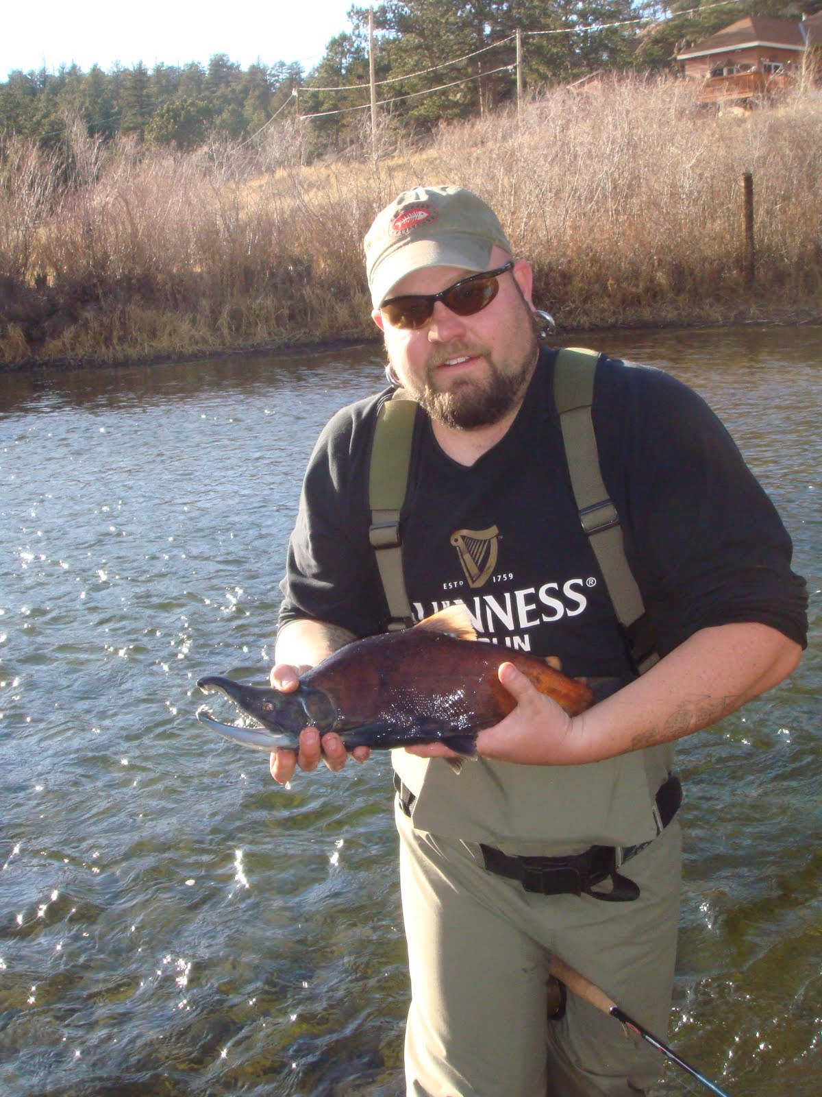 Fat guy fly fishing as mg says an offering to the fish gods for 11 mile canyon fishing