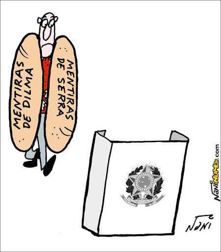 O eleitor sanduíche. Mentiras de Dilma e Serra