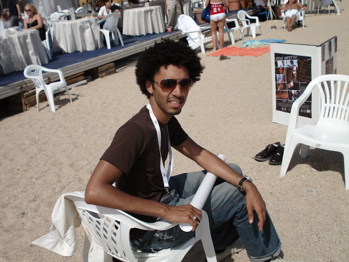 Shawn on the beach at Cannes. Ready to interview first person for the documentary