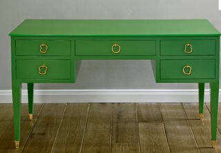 The Green Desk, And The Green Campaign Dressers Are To Die For. I Would  LOVE One Of These In My Home!