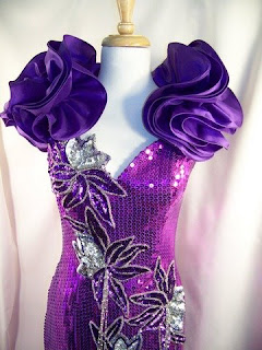 Prom Dress on Com Vintage 80s Alyce Designs Prom Dress Purple Sequins Ruffled Aspx