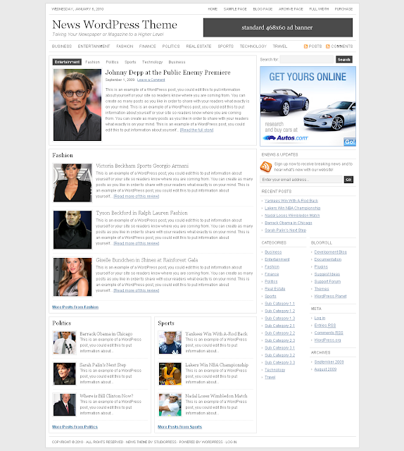 Studiopress News Wordpress Theme