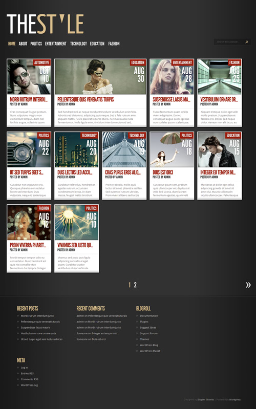 TheStyle Wordpress Theme Free Download by ElegantThemes.