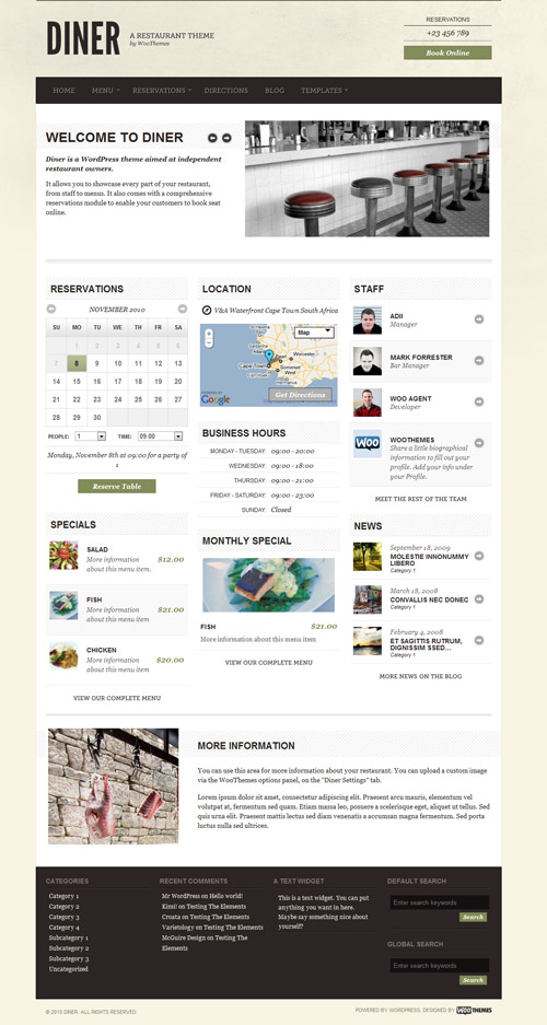 Diner – Restaurant Wordpress Theme Free Download by WooThemes.